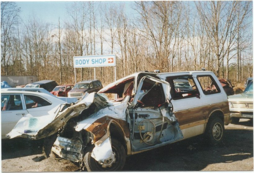 This is what our family minivan looked like after the accident that nearly killed my parents and oldest brother.